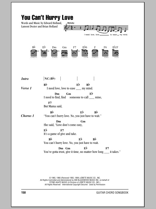 You Can\'t Hurry Love sheet music by The Supremes (Lyrics & Chords ...