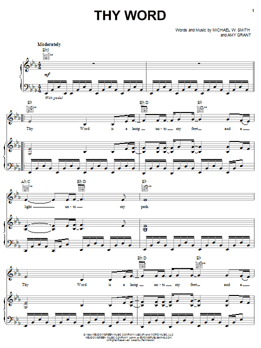 Thy Word (Piano, Vocal & Guitar (Right-Hand Melody))