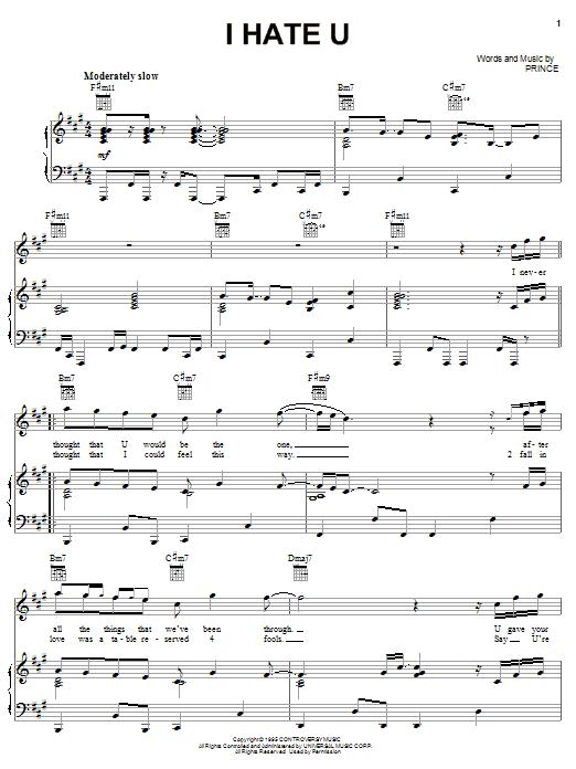 Partition piano I Hate U de Prince - Piano Voix Guitare (Mélodie Main Droite)