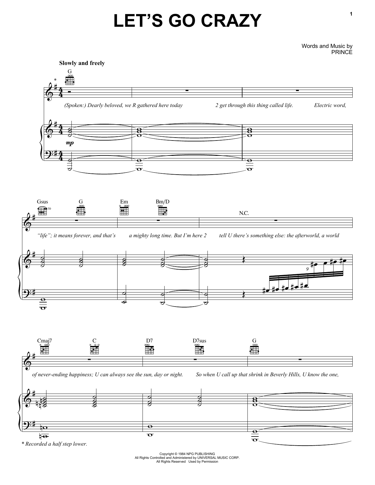 Let's Go Crazy Sheet Music