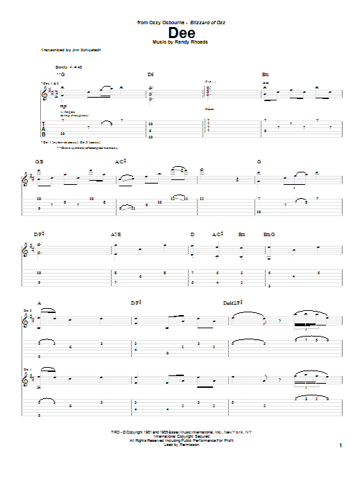 Dee Sheet Music