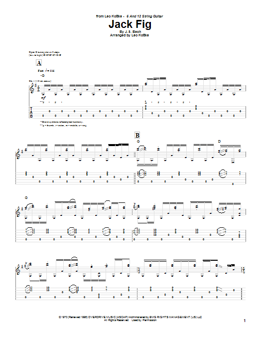 Tablature guitare Jack Fig de Leo Kottke - Tablature Guitare