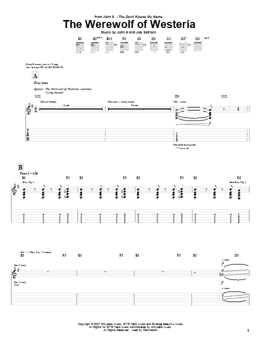 The Werewolf Of Westeria Sheet Music
