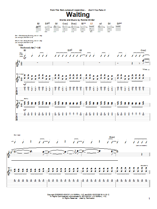 Tablature guitare Waiting de The Red Jumpsuit Apparatus - Tablature Guitare