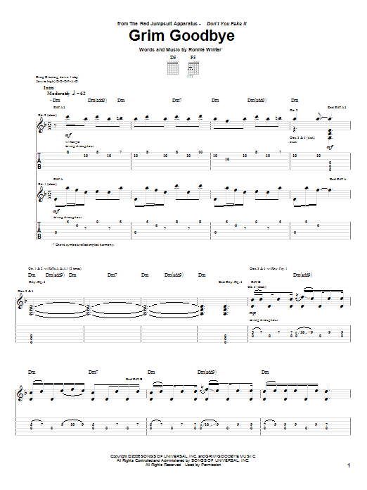Tablature guitare Grim Goodbye de The Red Jumpsuit Apparatus - Tablature Guitare