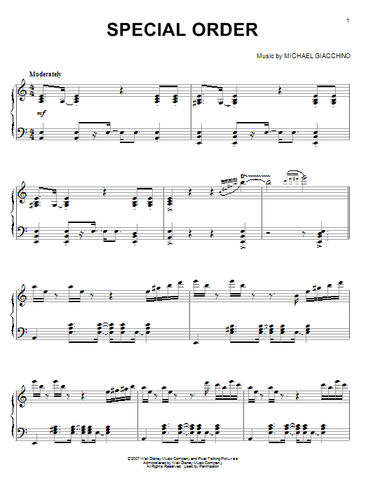 Special Order (from Ratatouille) Sheet Music