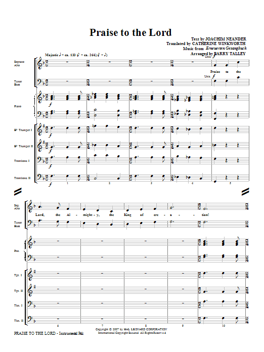 Praise To The Lord (COMPLETE) sheet music for orchestra/band (Brass) by Barry Talley. Score Image Preview.
