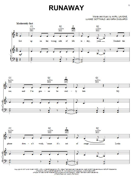 Partition piano Runaway de Avril Lavigne - Piano Voix Guitare (Mélodie Main Droite)