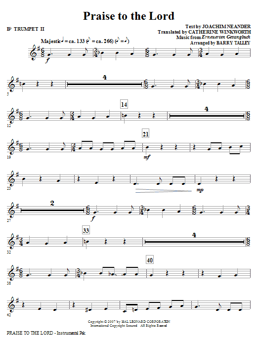 Praise To The Lord - Bb Trumpet 2 Sheet Music