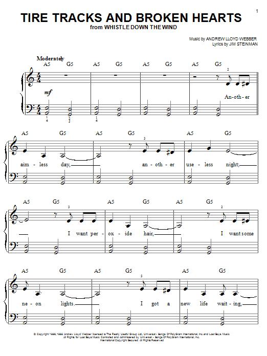 Tire Tracks And Broken Hearts (Easy Piano)