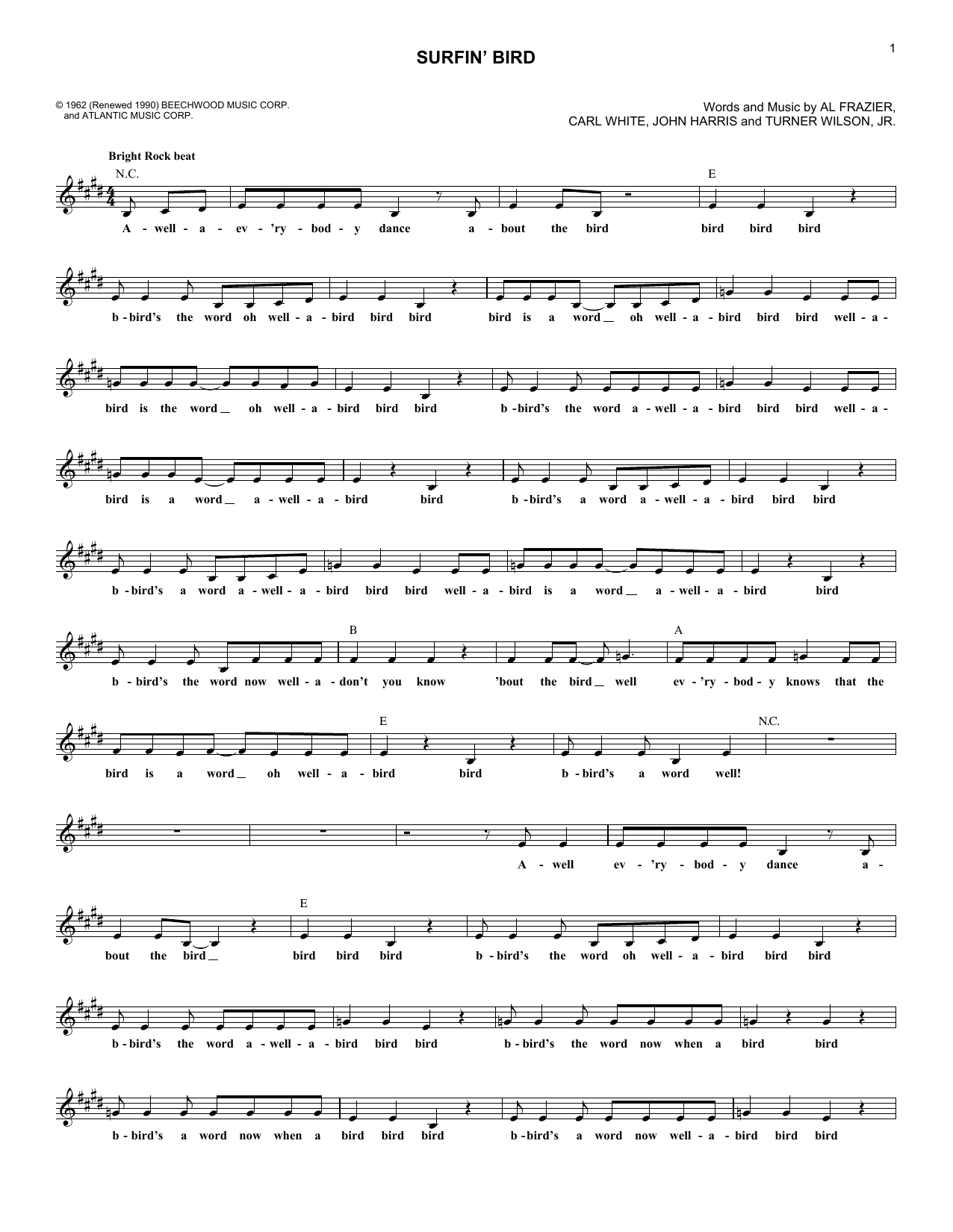 Surfin' Bird (Lead Sheet / Fake Book)