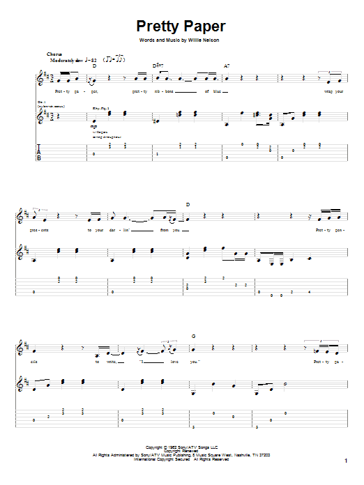 Tablature guitare Pretty Paper de Willie Nelson - Tablature Guitare