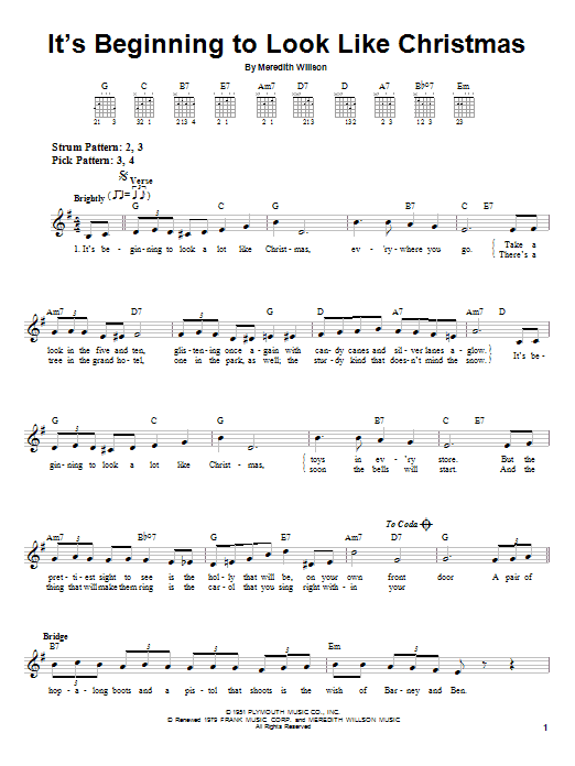 It's Beginning To Look Like Christmas (Easy Guitar)