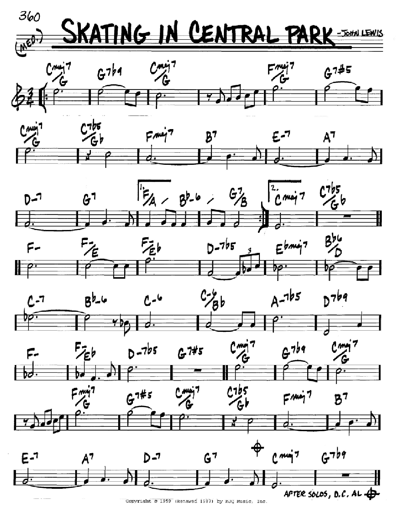 Skating In Central Park (Real Book – Melody & Chords – C Instruments)