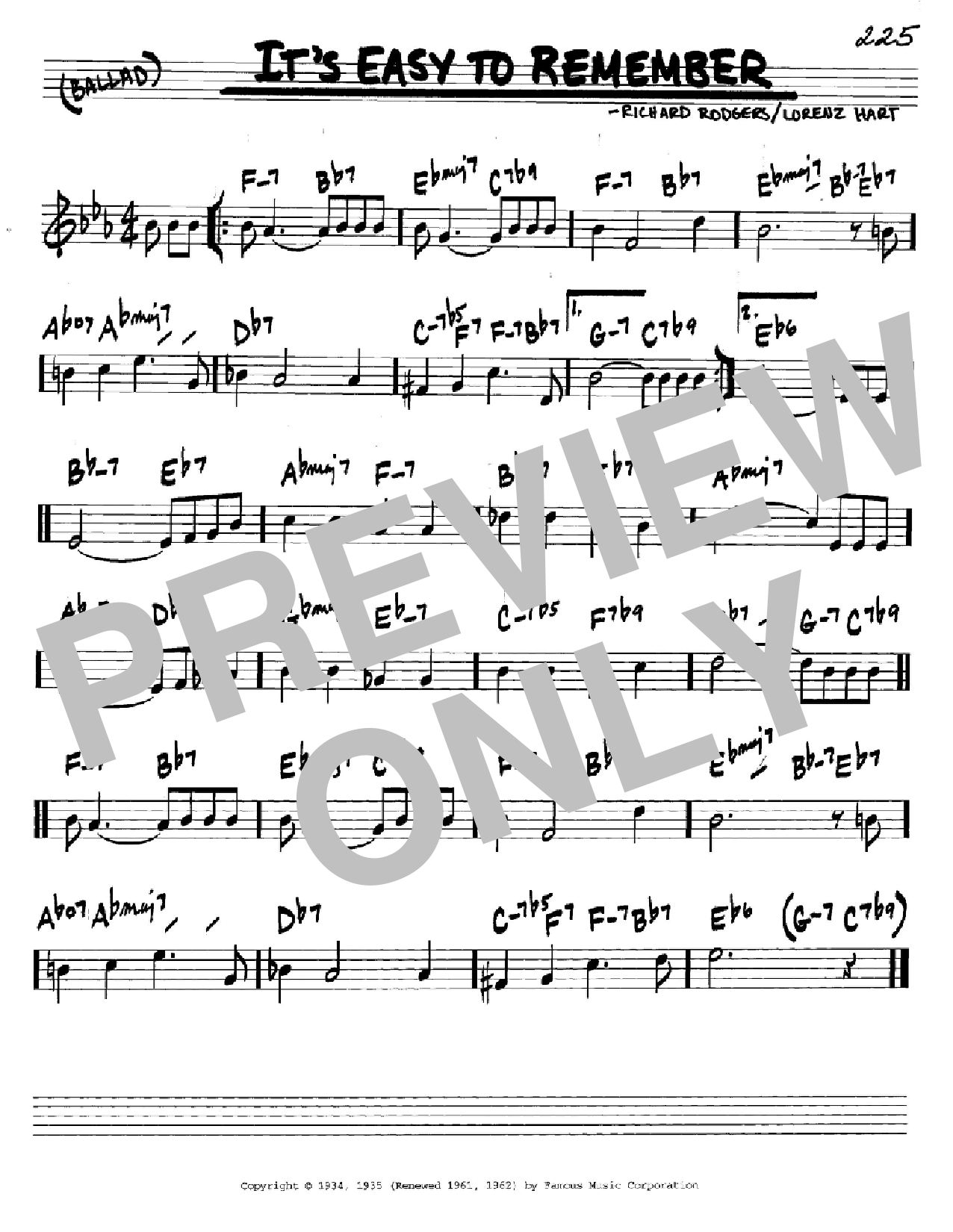 It's Easy To Remember Sheet Music
