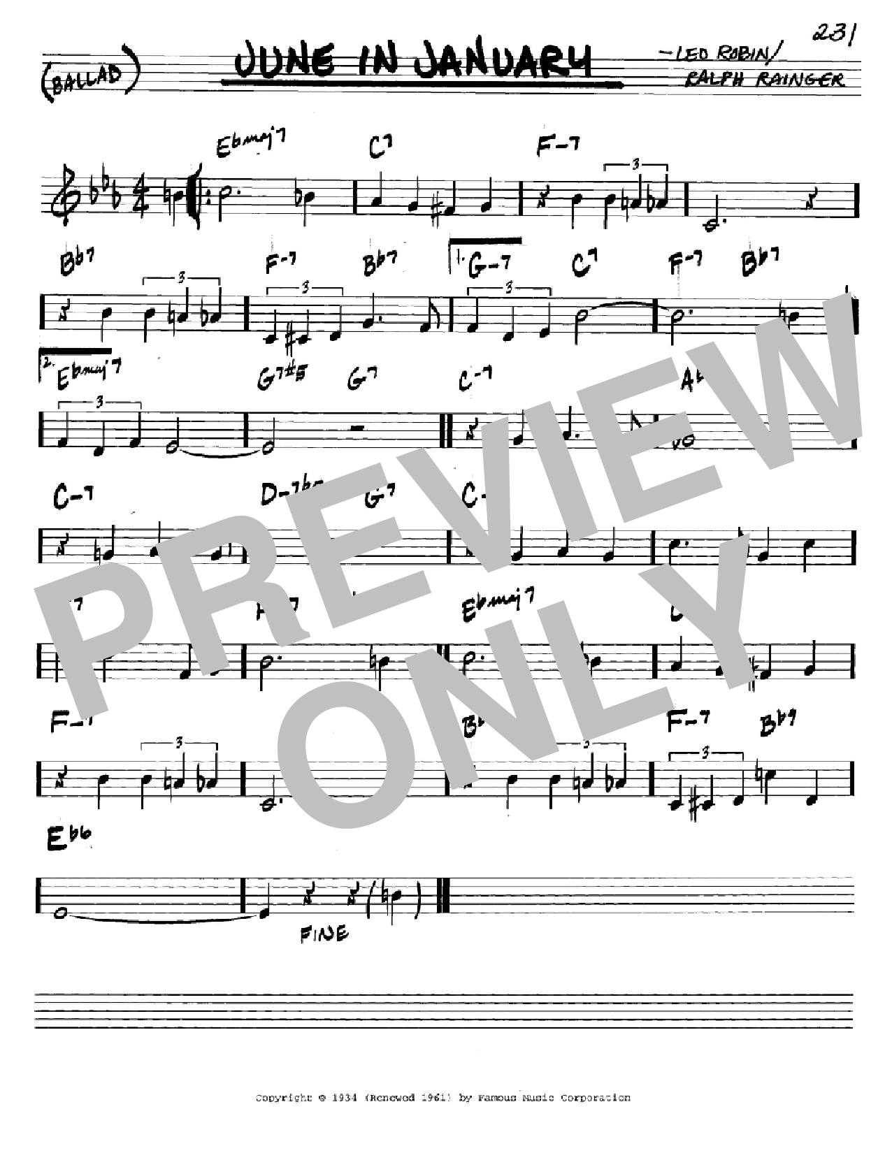 June In January (Real Book – Melody & Chords – C Instruments)