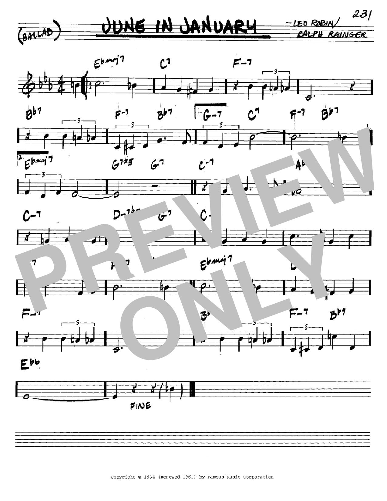 Partition autre June In January de Ralph Rainger - Real Book, Melodie et Accords, Inst. En Do