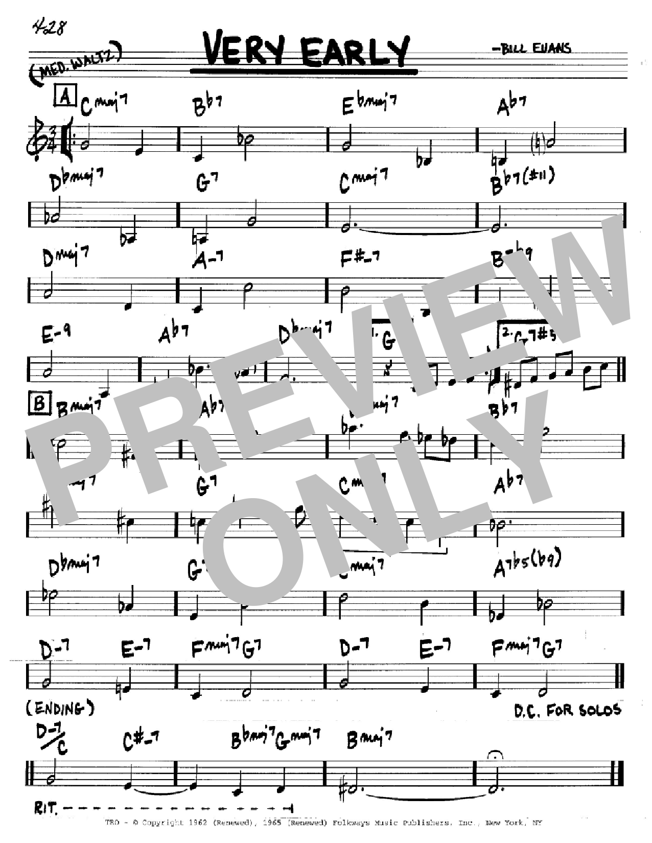 Very Early (Real Book – Melody & Chords – C Instruments)