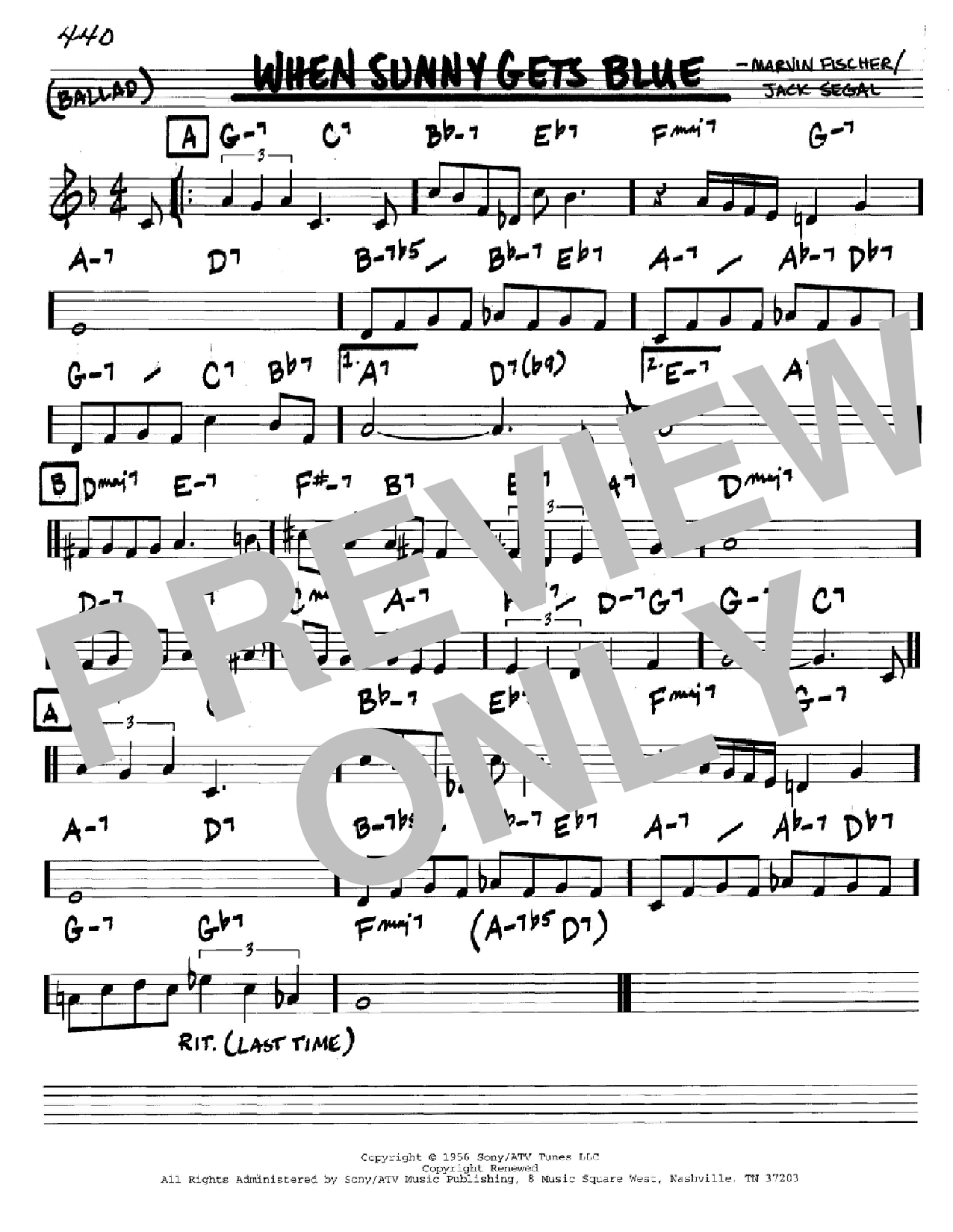When Sunny Gets Blue (Real Book – Melody & Chords – C Instruments)