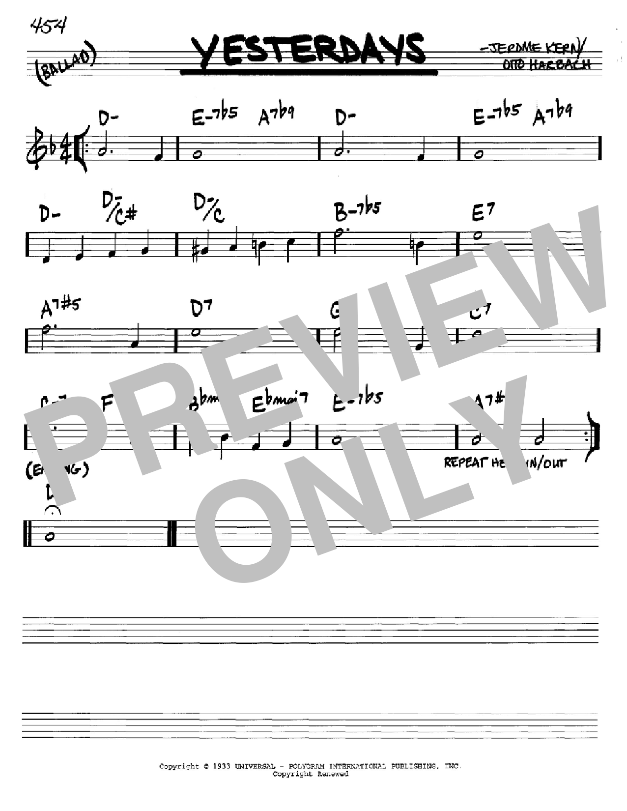 Yesterdays (Real Book – Melody & Chords – C Instruments)