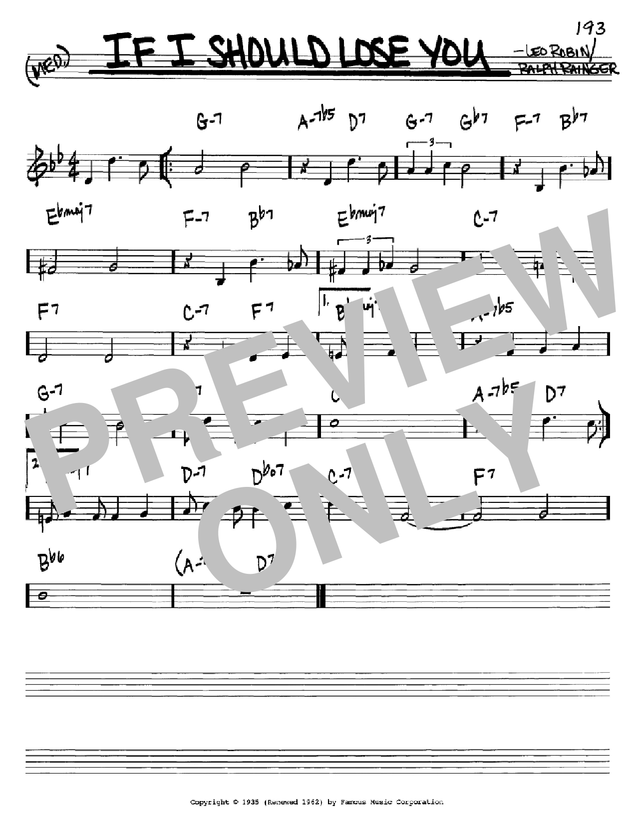 If I Should Lose You Sheet Music
