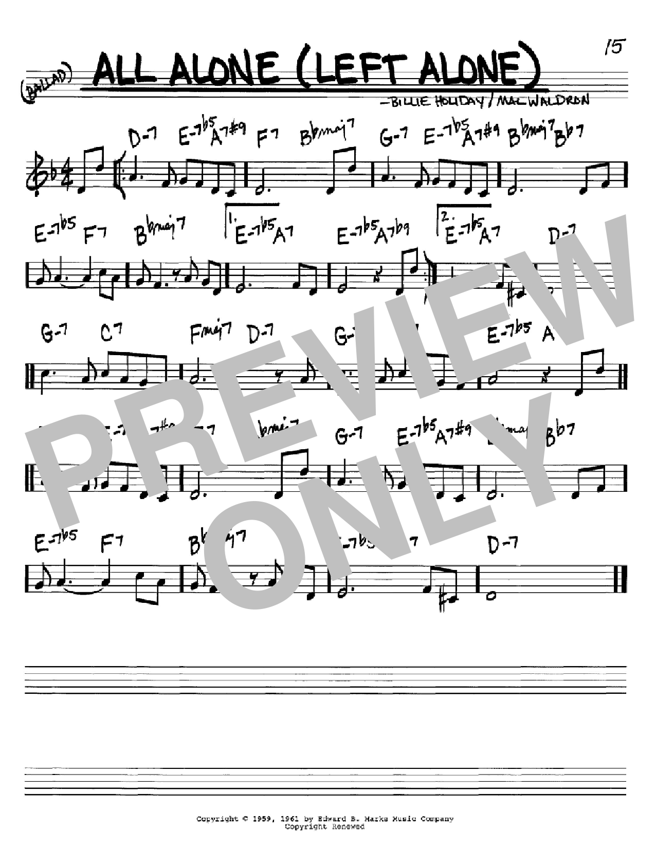 All Alone (Left Alone) (Real Book – Melody & Chords – C Instruments)