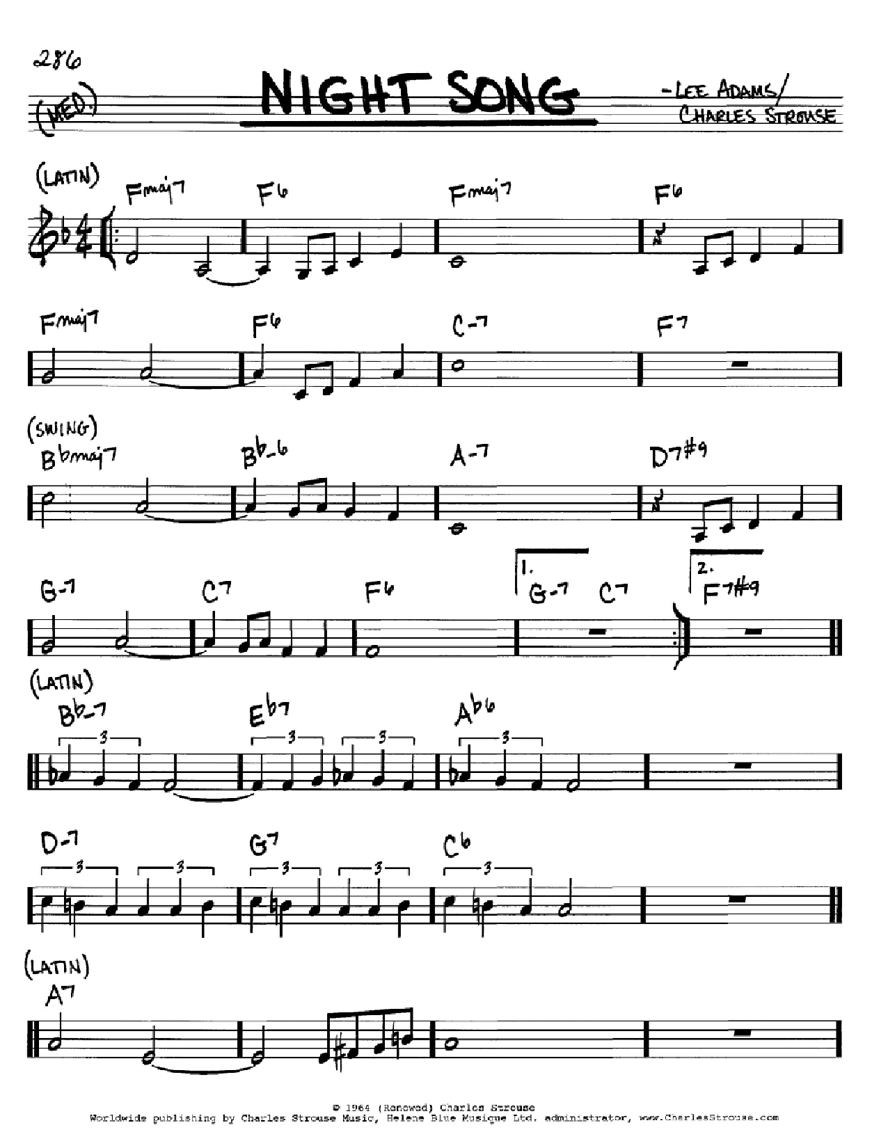 Night Song Sheet Music
