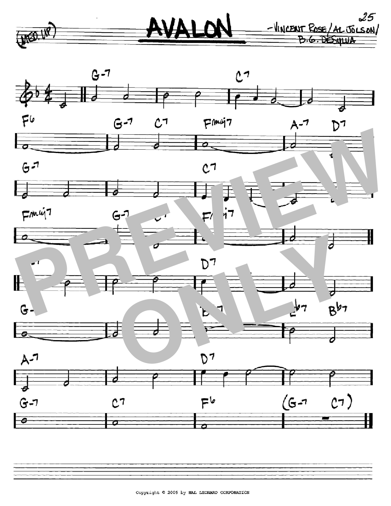 Avalon Sheet Music