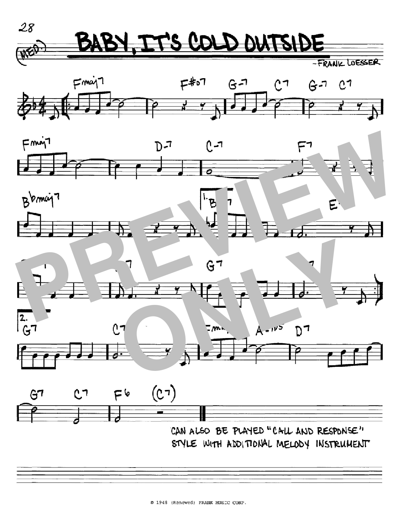 Baby, It's Cold Outside (Real Book – Melody & Chords – C Instruments)