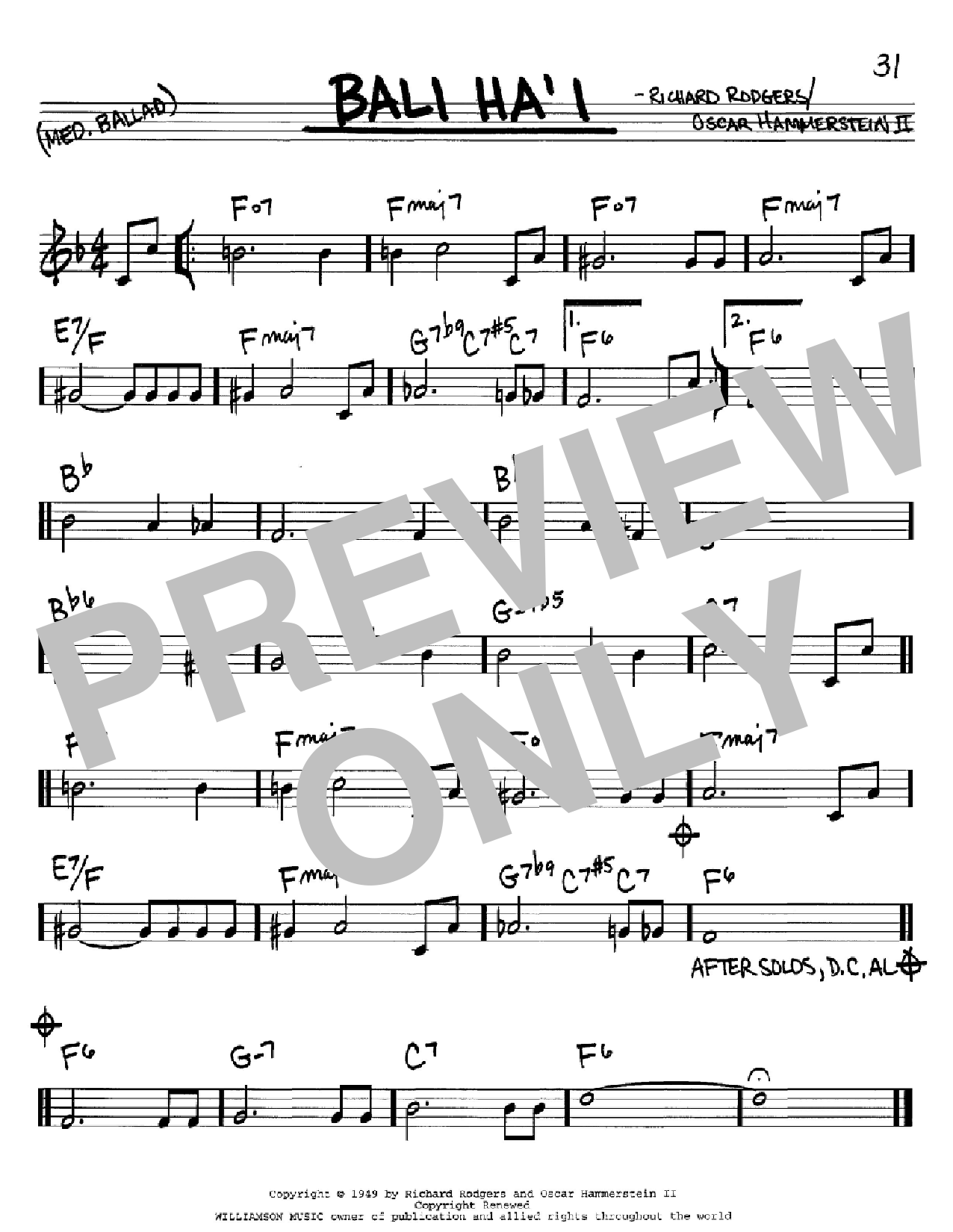 Bali Ha'i Sheet Music