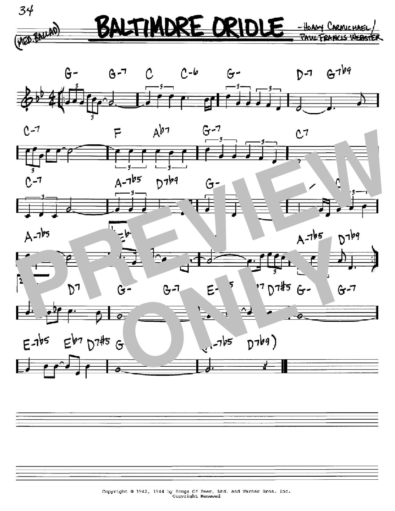 Baltimore Oriole Sheet Music