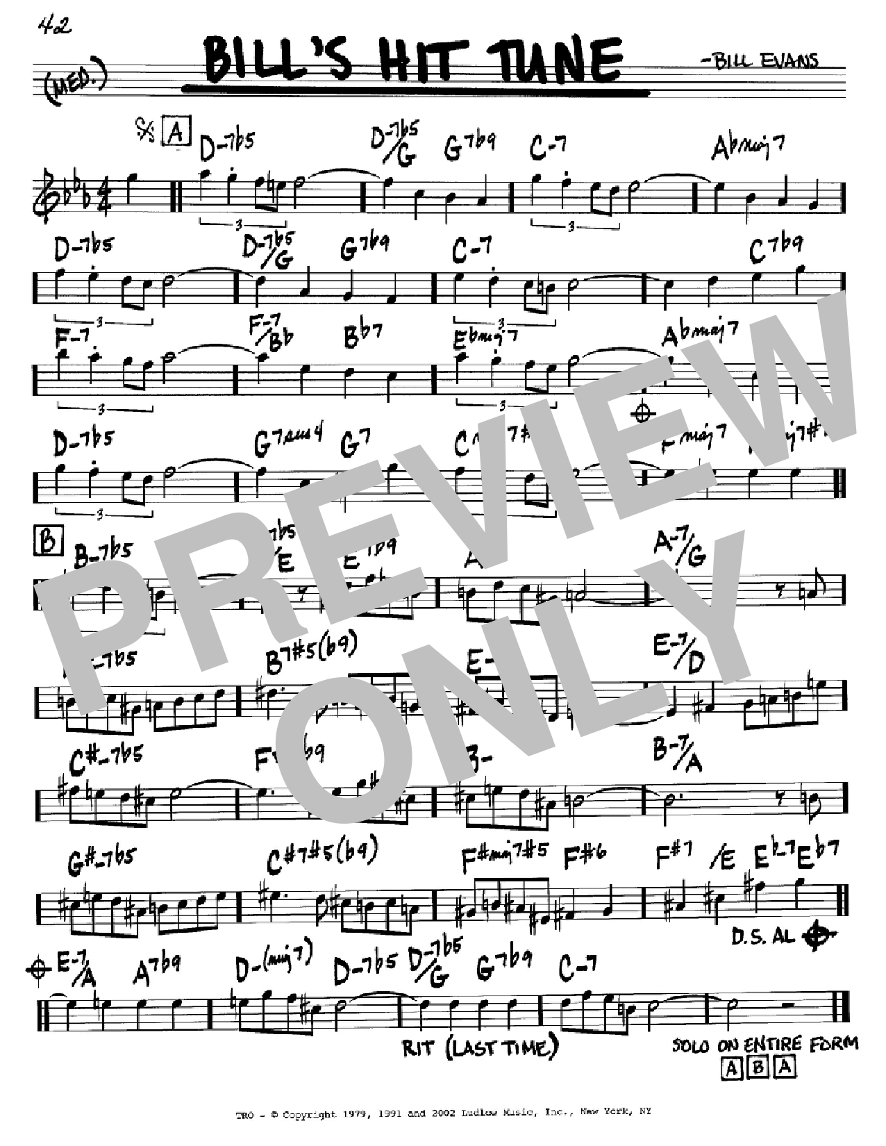 Bill's Hit Tune (Real Book – Melody & Chords)