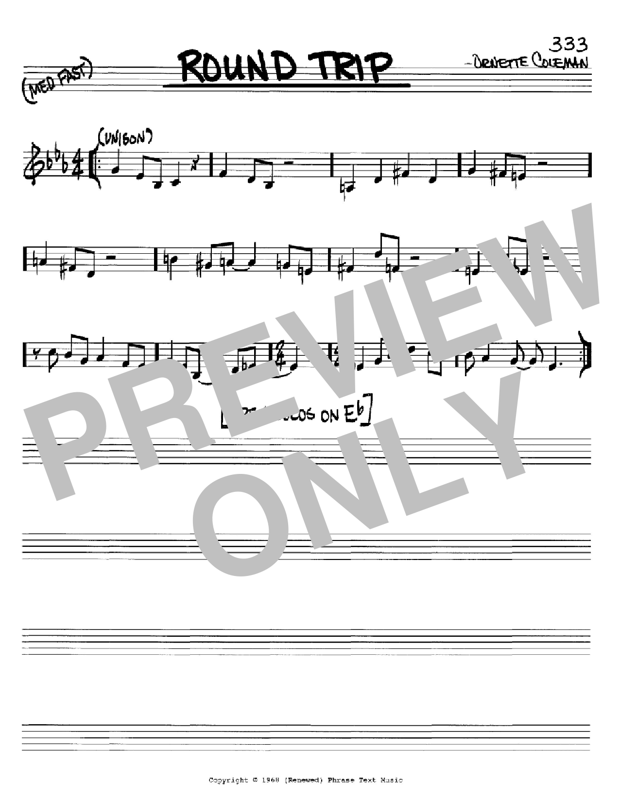 Round Trip (Real Book – Melody & Chords – C Instruments)