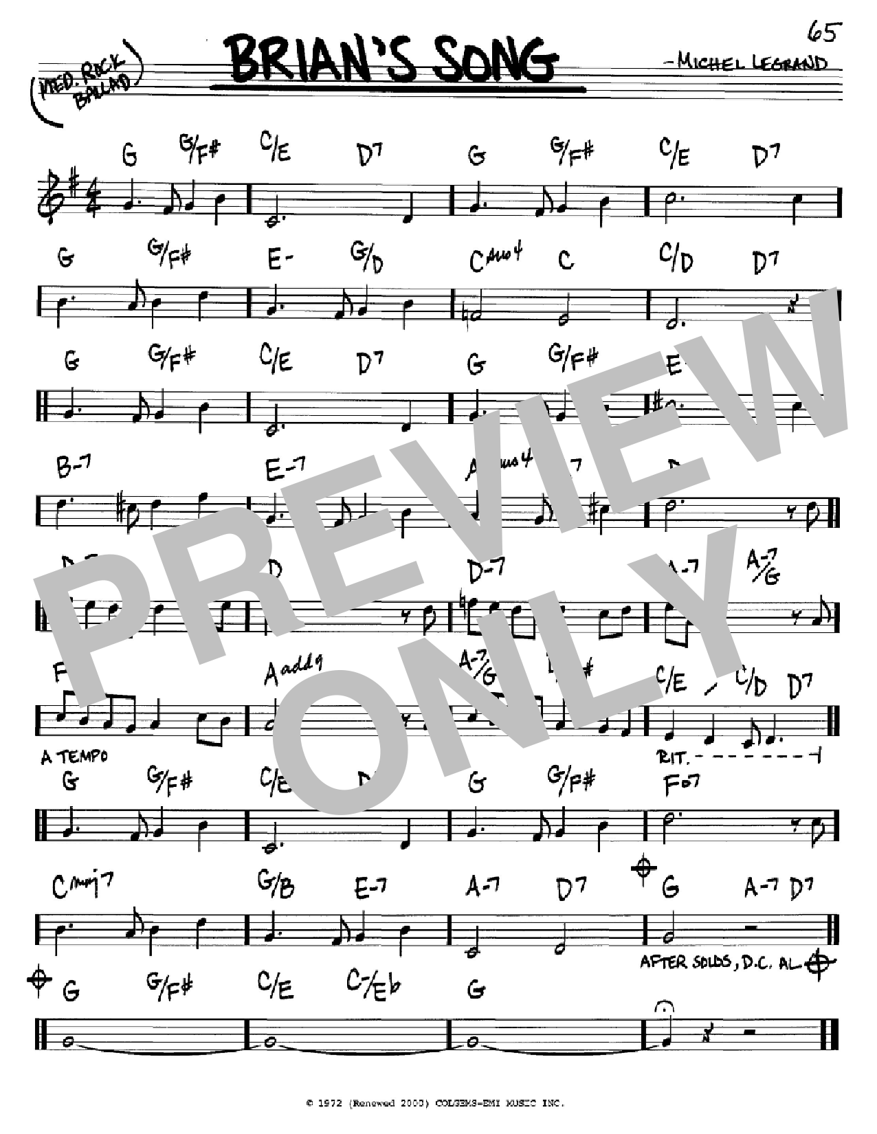 Brian's Song Sheet Music