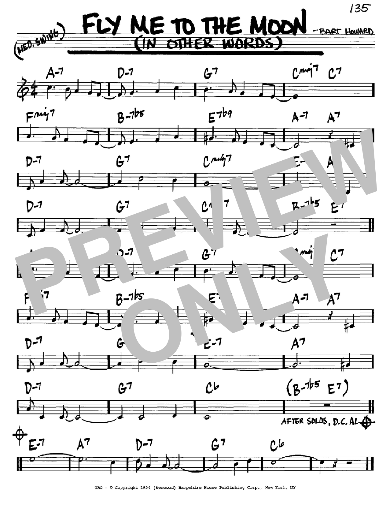 Fly Me To The Moon In Other Words Sheet Music Frank Sinatra