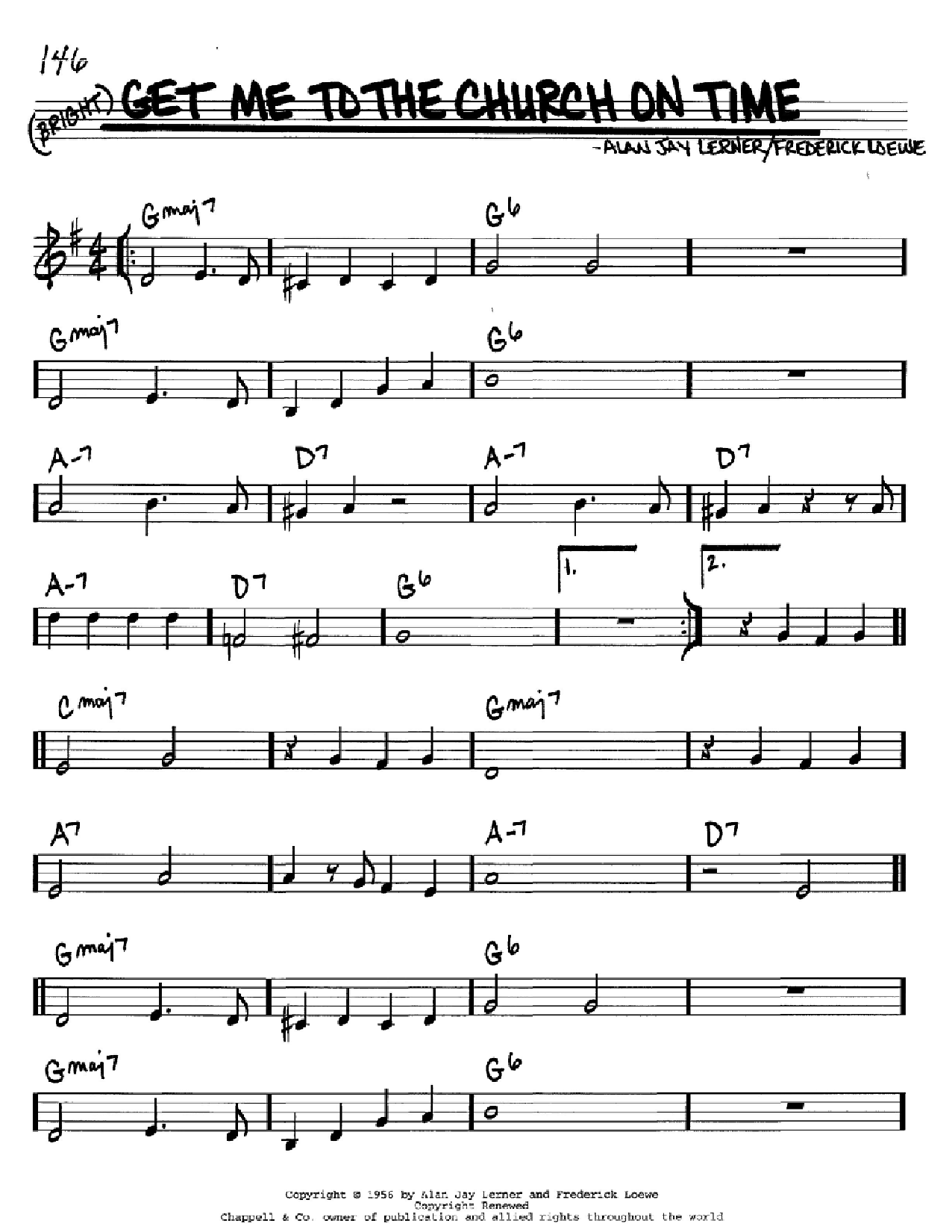Get Me To The Church On Time (from My Fair Lady) (Real Book – Melody & Chords – C Instruments)