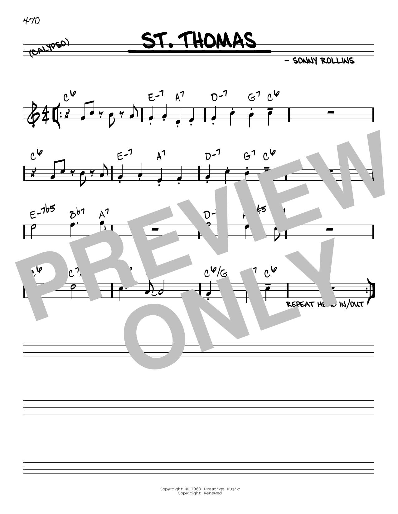 Partition autre St. Thomas de Sonny Rollins - Real Book, Melodie et Accords, Inst. En Do