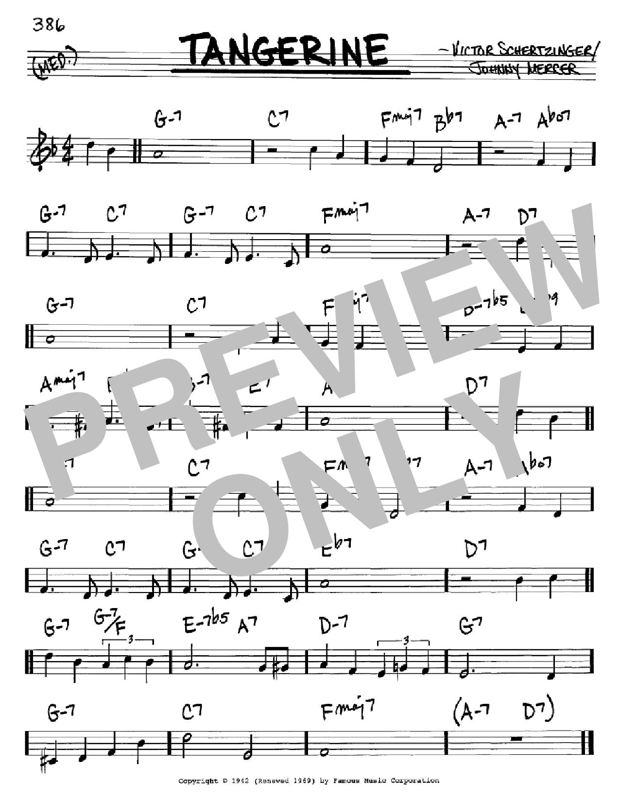 Partition autre Tangerine de Johnny Mercer - Real Book, Melodie et Accords, Inst. En Do