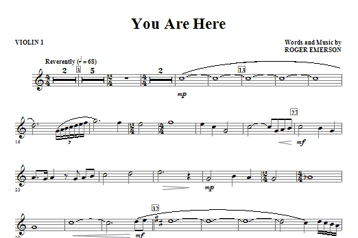 You Are Here (complete set of parts) sheet music for orchestra/band (Strings) by Roger Emerson. Score Image Preview.