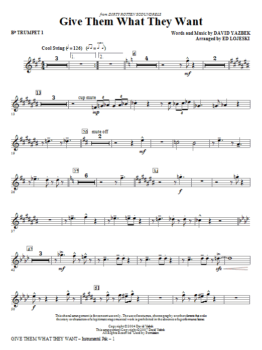 Give Them What They Want (complete set of parts) sheet music for orchestra/band (chamber ensemble) by Ed Lojeski and David Yazbek. Score Image Preview.