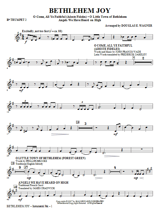 Bethlehem Joy (Medley) - Bb Trumpet 2 Sheet Music
