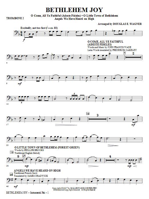 Bethlehem Joy (Medley) - Trombone 2 (Choir Instrumental Pak)