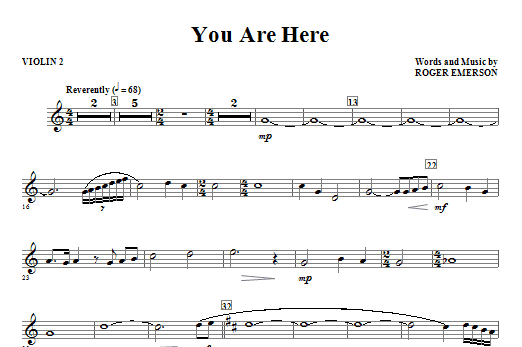 You Are Here - Violin 2 Sheet Music