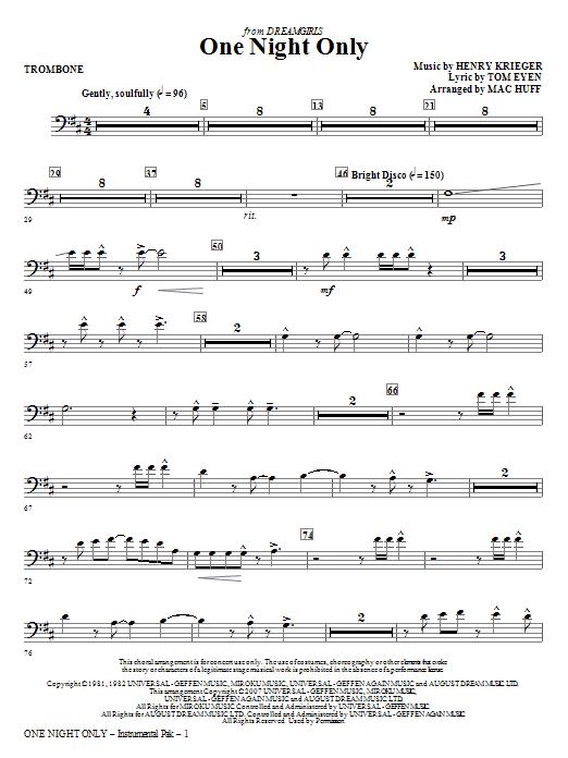 One Night Only (from Dreamgirls) - Trombone (Choir Instrumental Pak)