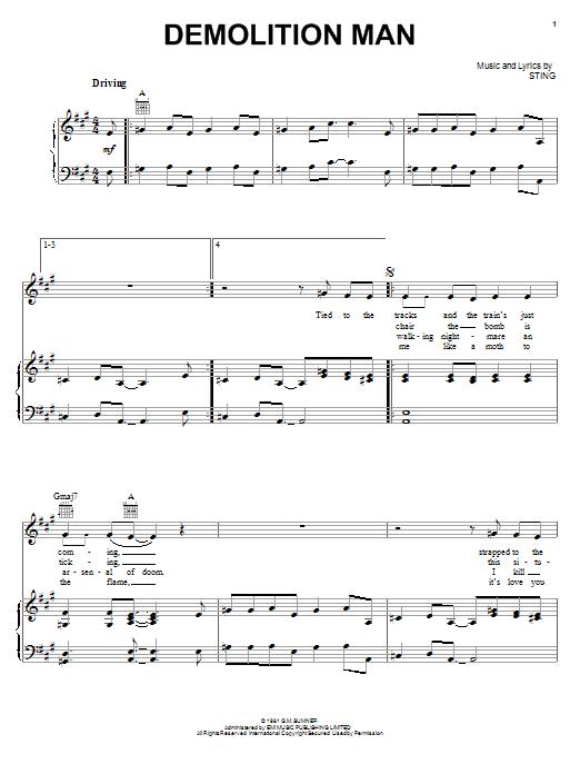 Partition piano Demolition Man de The Police - Piano Voix Guitare (Mélodie Main Droite)