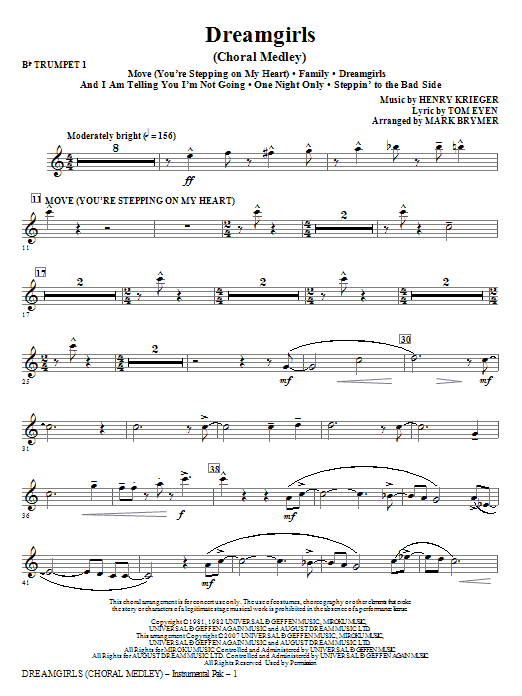 Dreamgirls (Choral Medley) (complete set of parts) sheet music for orchestra/band (chamber ensemble) by Tom Eyen and Mark Brymer. Score Image Preview.