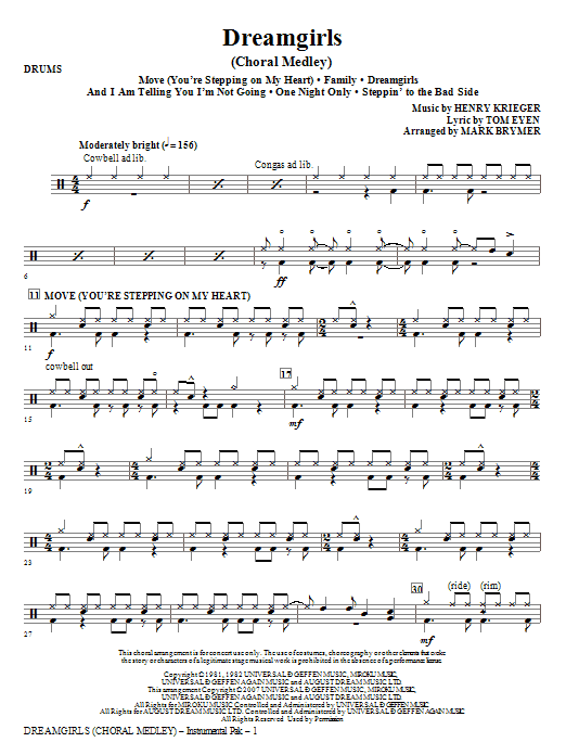 Dreamgirls (Choral Medley) - Drums Sheet Music