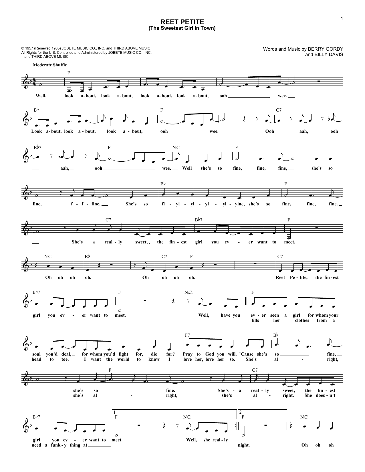 Reet Petite (The Sweetest Girl In Town) (Lead Sheet / Fake Book)