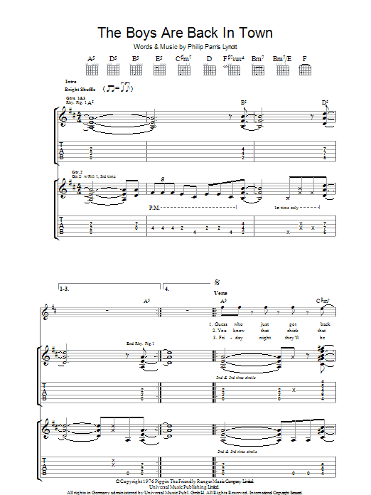 The Boys Are Back In Town (Guitar Tab)