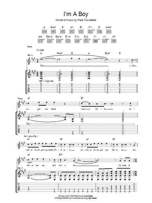 I'm A Boy (Guitar Tab)